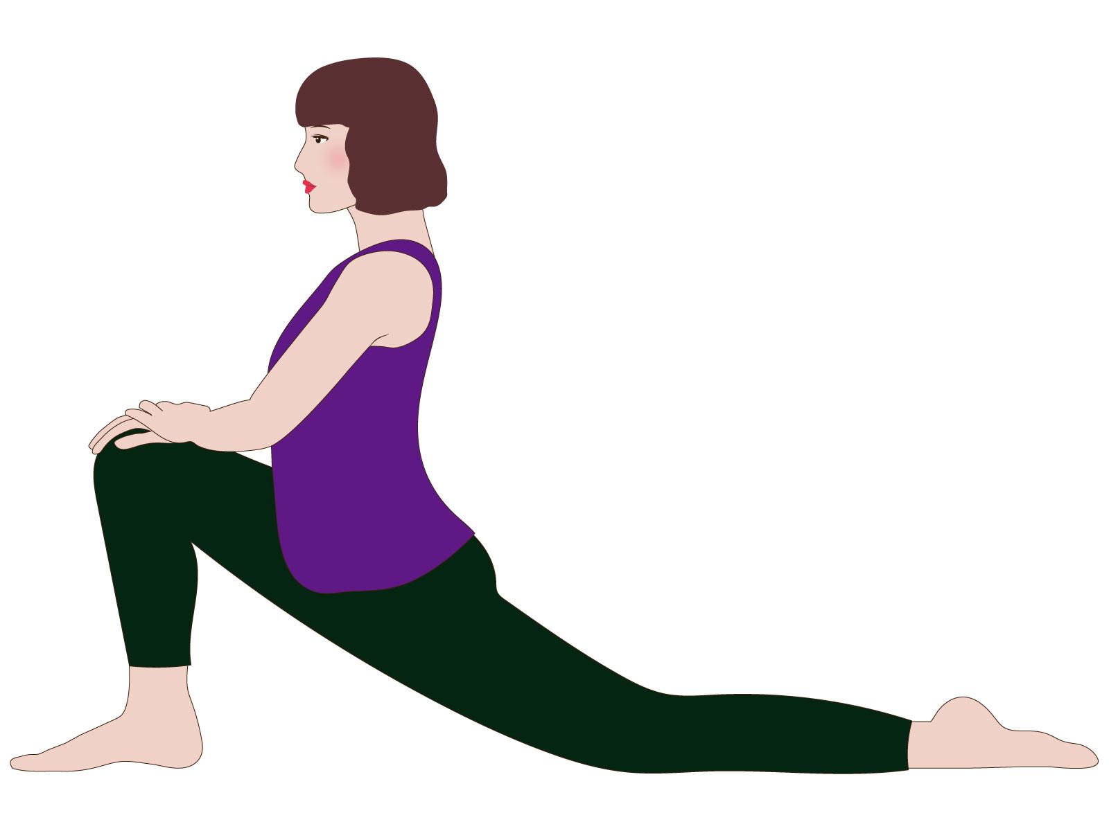 腸腰筋 ストレッチ イラスト 女性 ヨガ