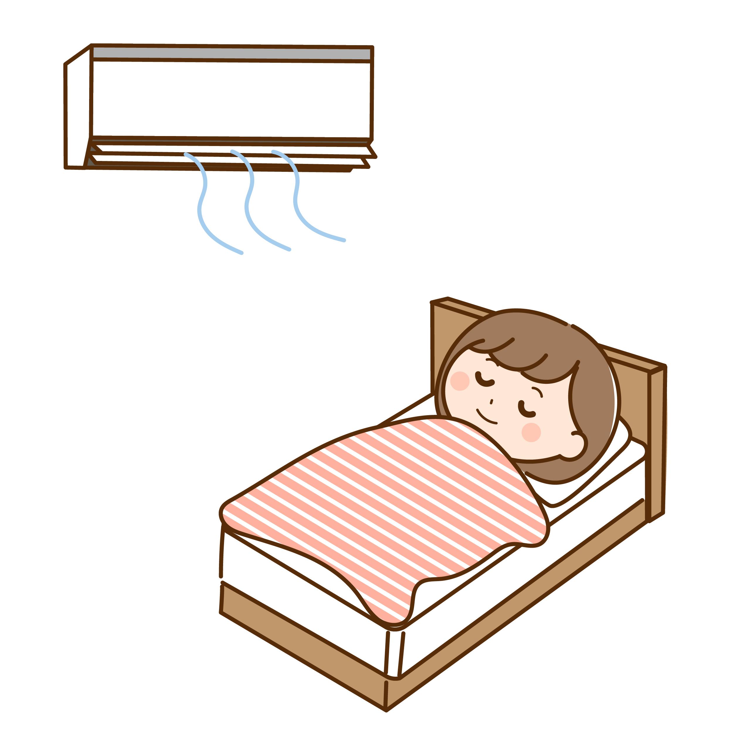 エアコンをつけて眠る女性のイラスト