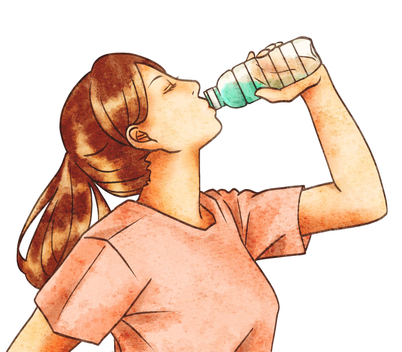 水分摂取する女性のイラスト
