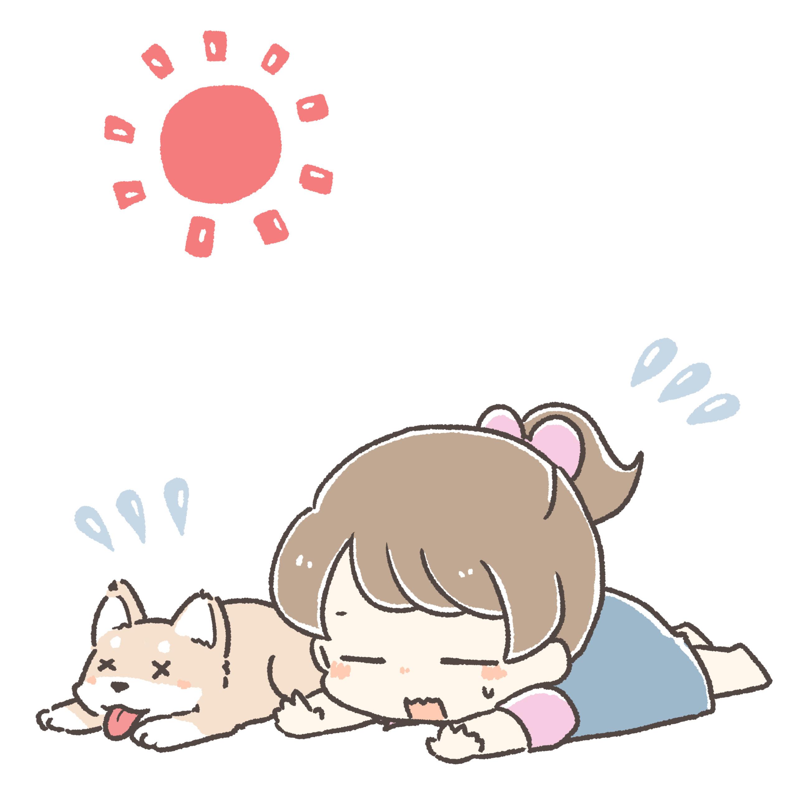 夏バテの少女と犬のイラスト